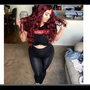 Beautiful Voluptuous Wine Red Wavy Wig